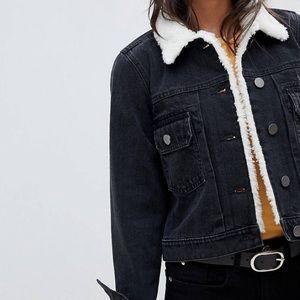Black cropped denim jacket